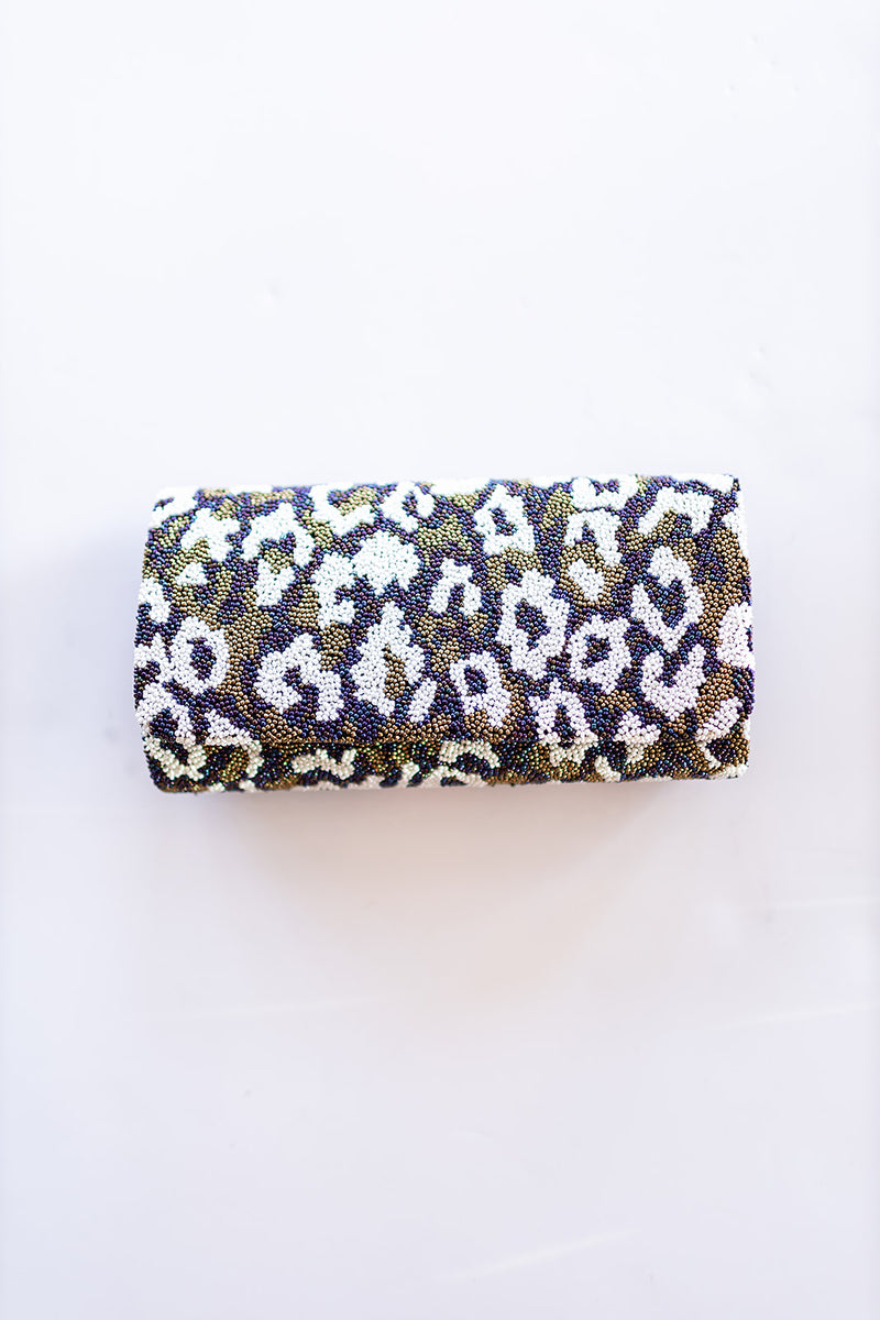 Leopard Structured Beaded Clutch
