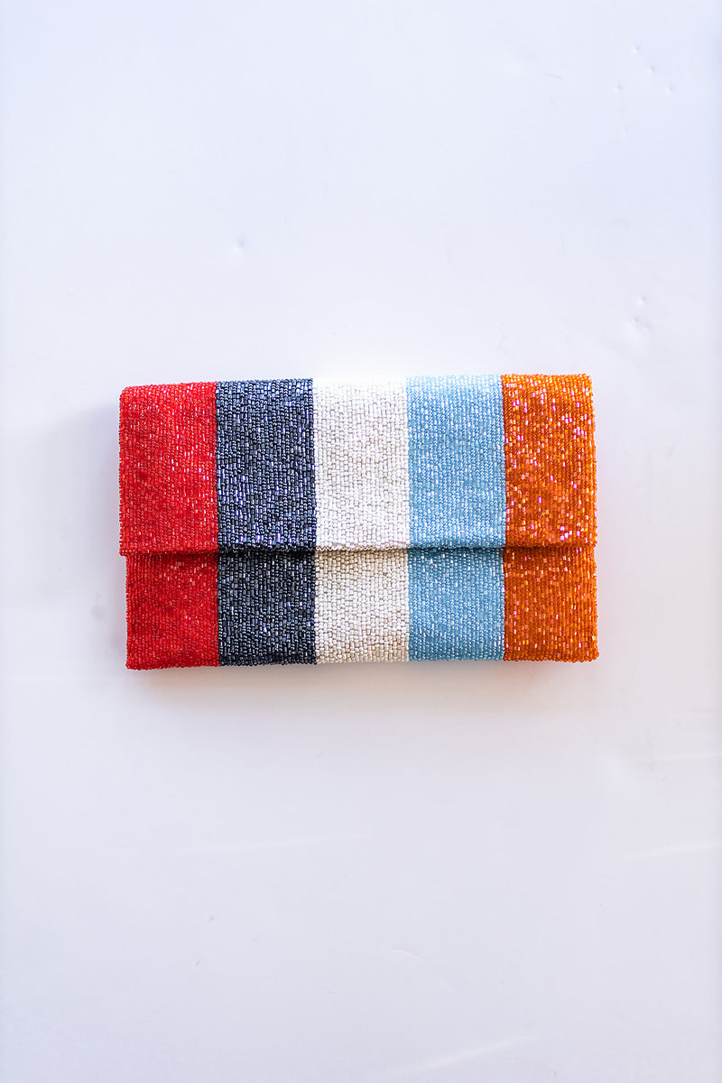 Orangesicle Stripes Beaded Clutch