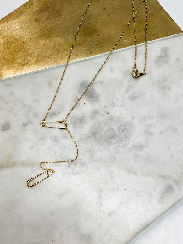 Safety Pin Lariat Necklace