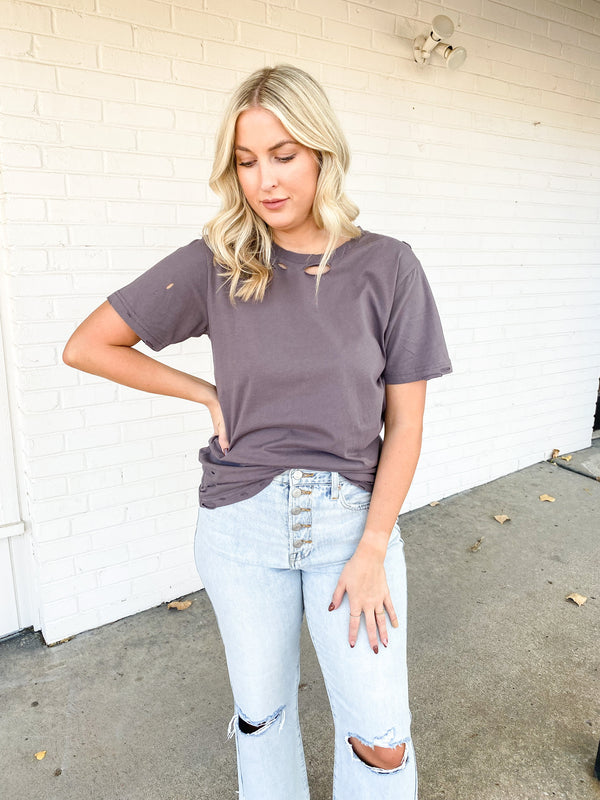 Stripes and Smiles Tee - Taupe