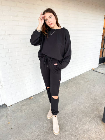 Button Down Black Sweater