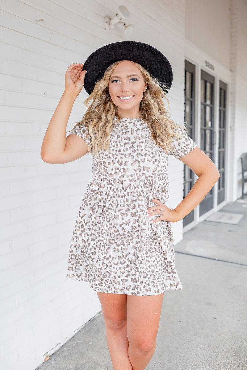 Hey There Leopard Babydoll Dress