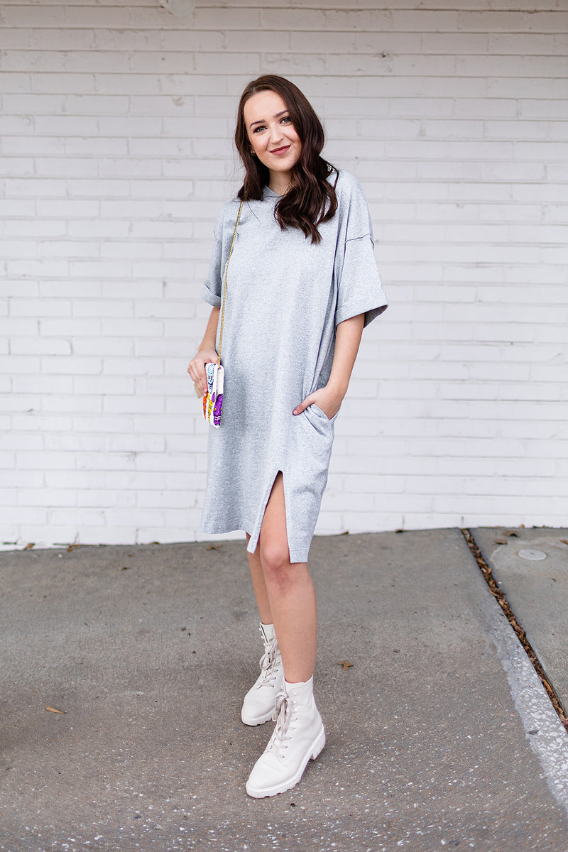 Gretta Oversized T-shirt Dress - Grey