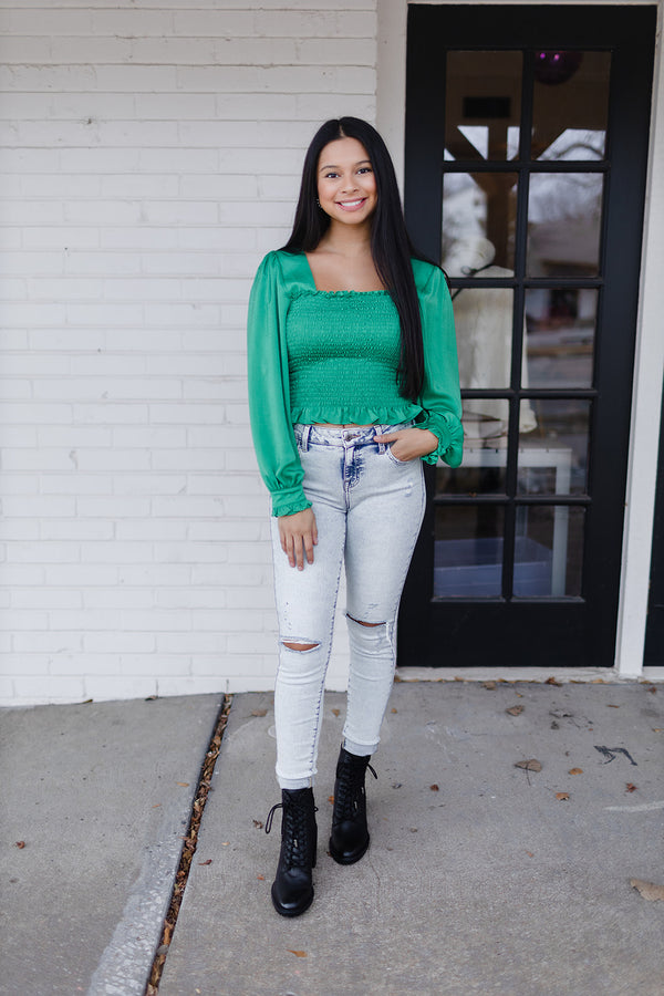 Gone Green Smocked Top