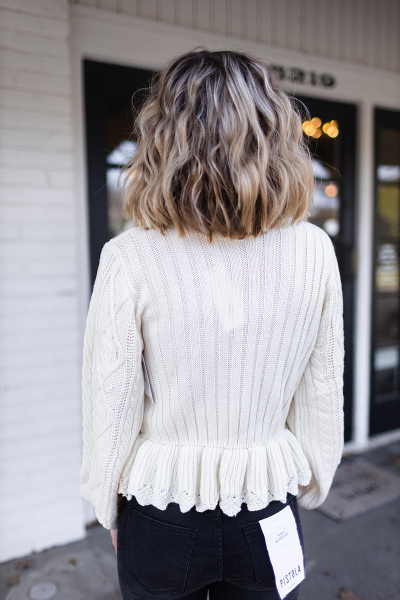 Trés Chic Peplum Sweater - Cream