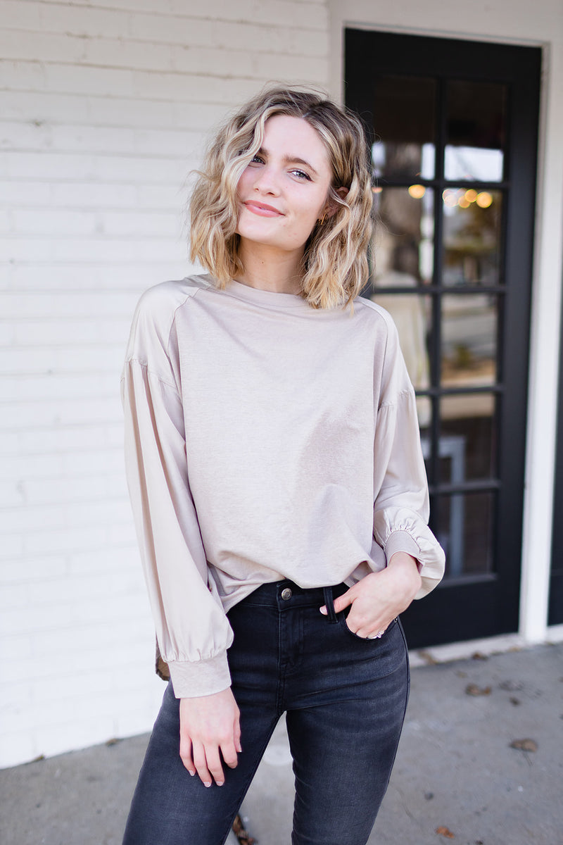 Weekend Ways Taupe Top