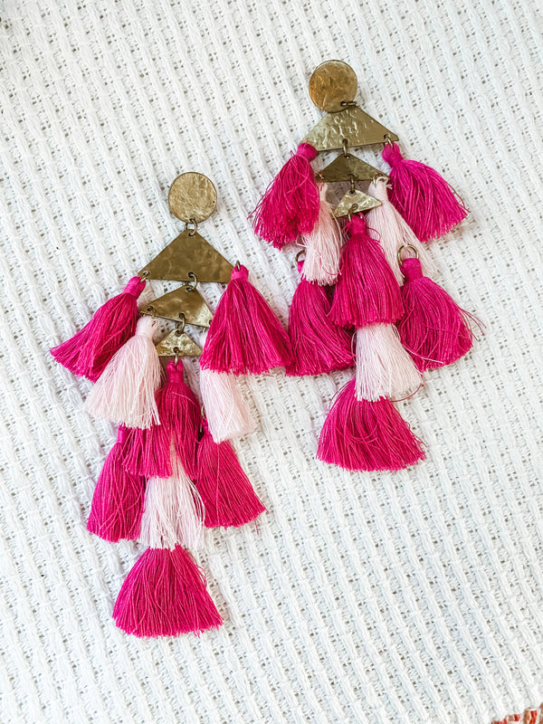 Tassel Up Earring - Pink