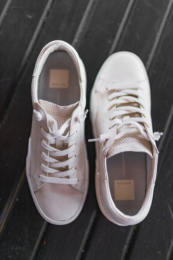 Dolce Vita Zina Sneakers in White Perforated Leather
