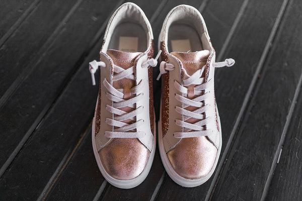 Dolce Vita Zina Sneakers in Rose Gold Glitter