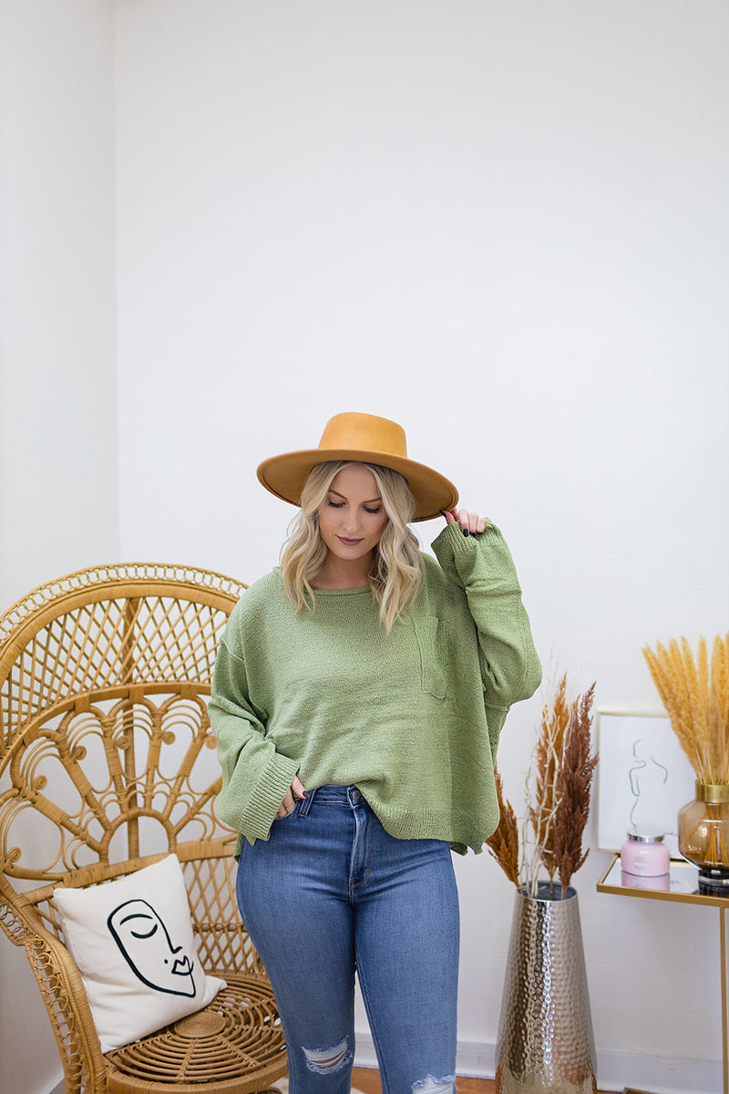Edgy Girl Sweater-Green
