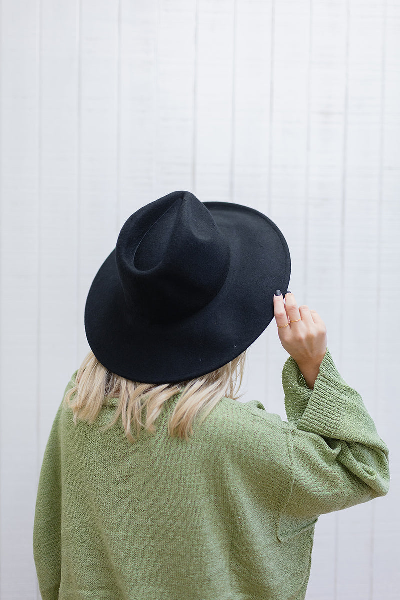 Solid Black Flat Brim Hat