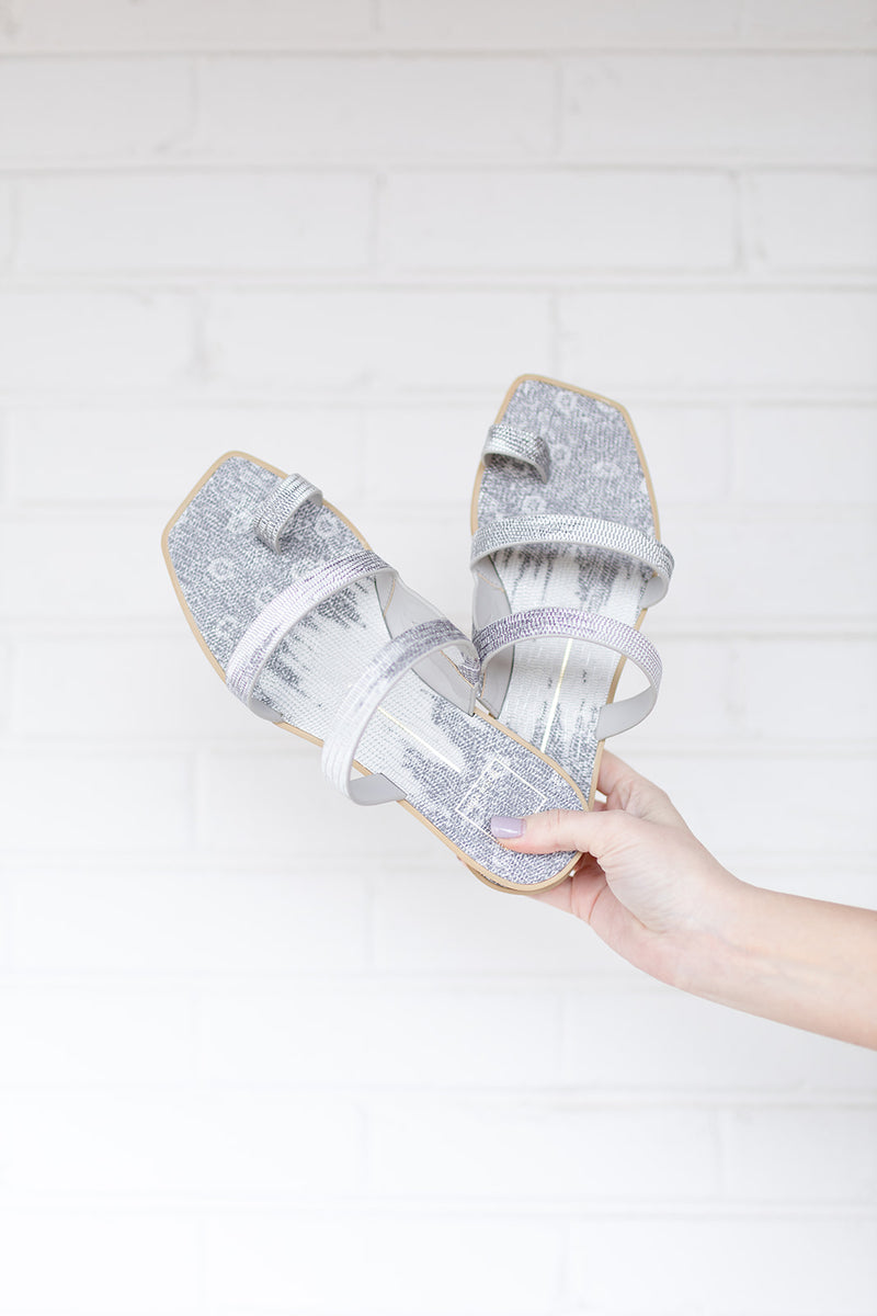 Dolce Vita Isala Sandals in Pewter Embossed Lizard