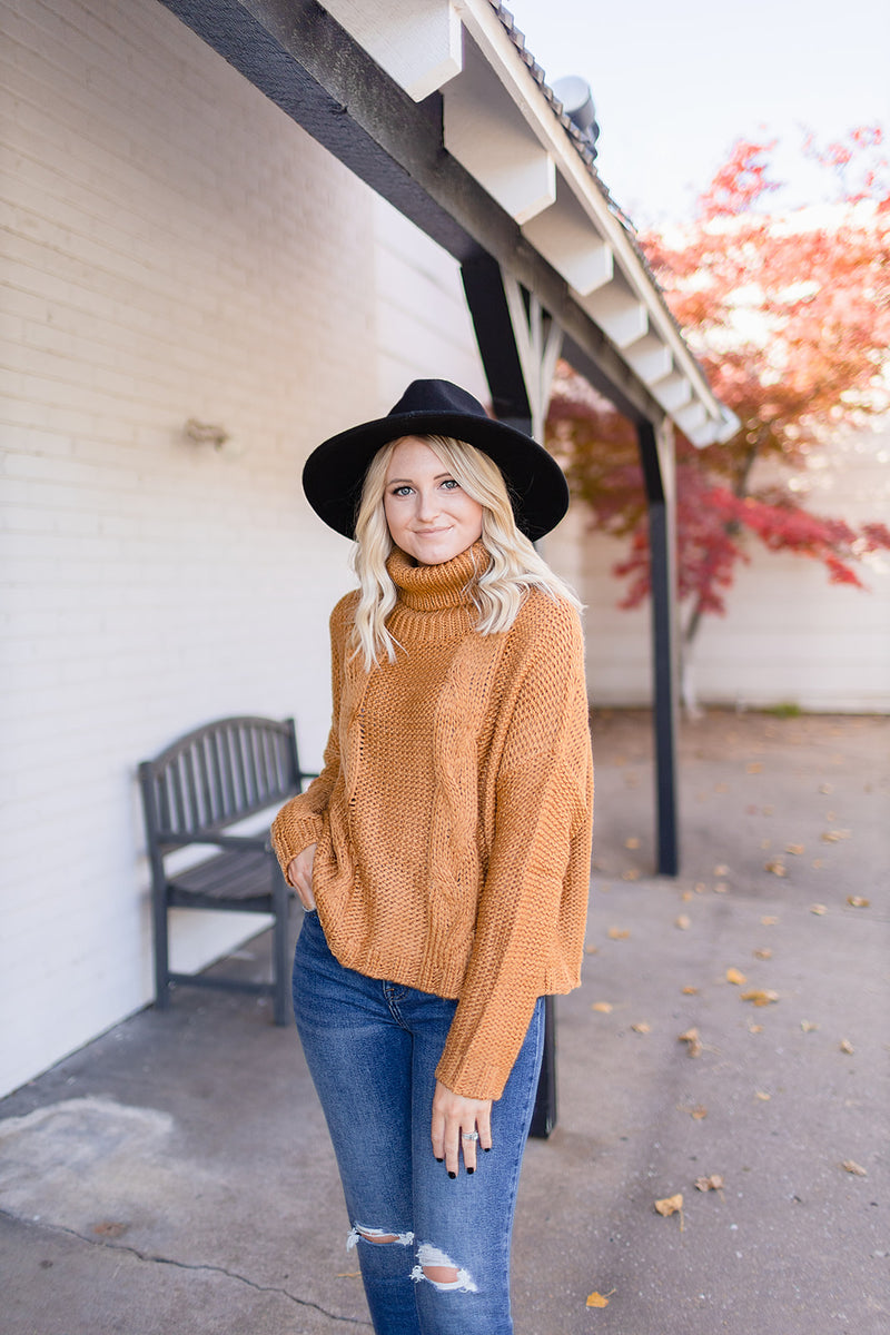 Call Me Later Cable Sweater - Mustard