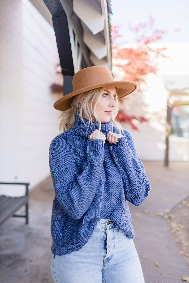 Call Me Later Cable Sweater - Blue