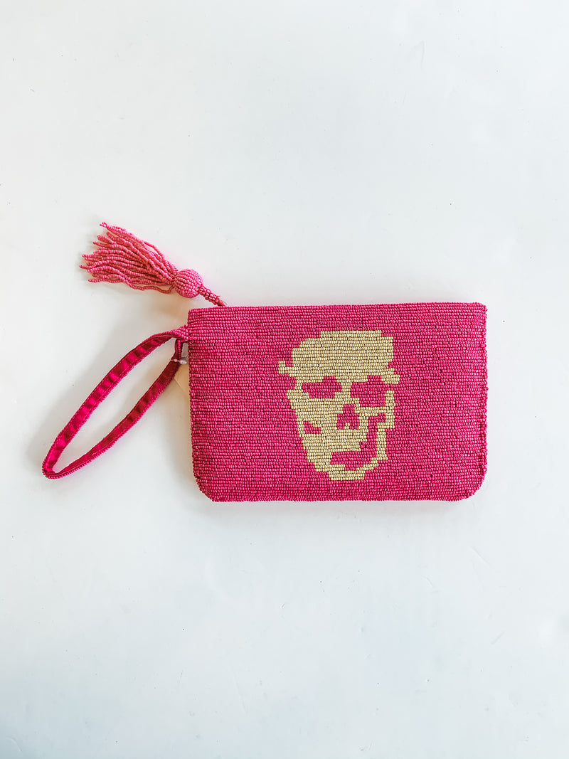 Hot Pink Skull Beaded Clutch