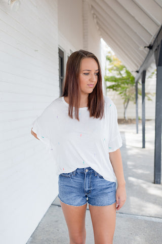 Party Girl Ruffle Top - White