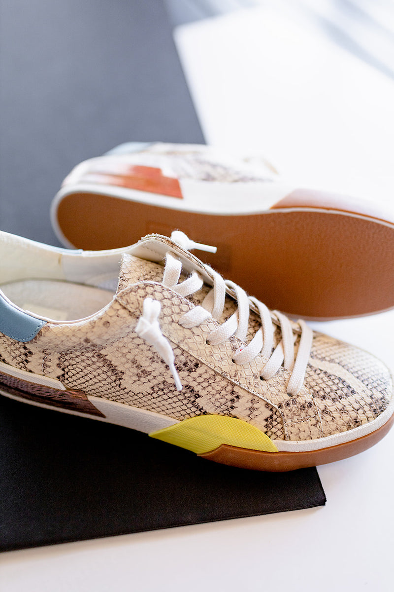 Dolce Vita Zina Sneakers in Bone Multi Snake Print Leather