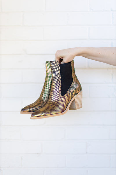 Dolce Vita Sabil Booties in Gold Snake