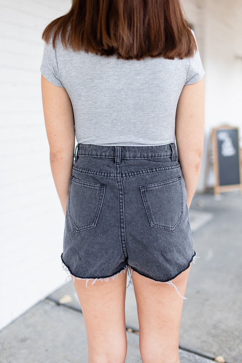 Black Fringe Denim Shorts