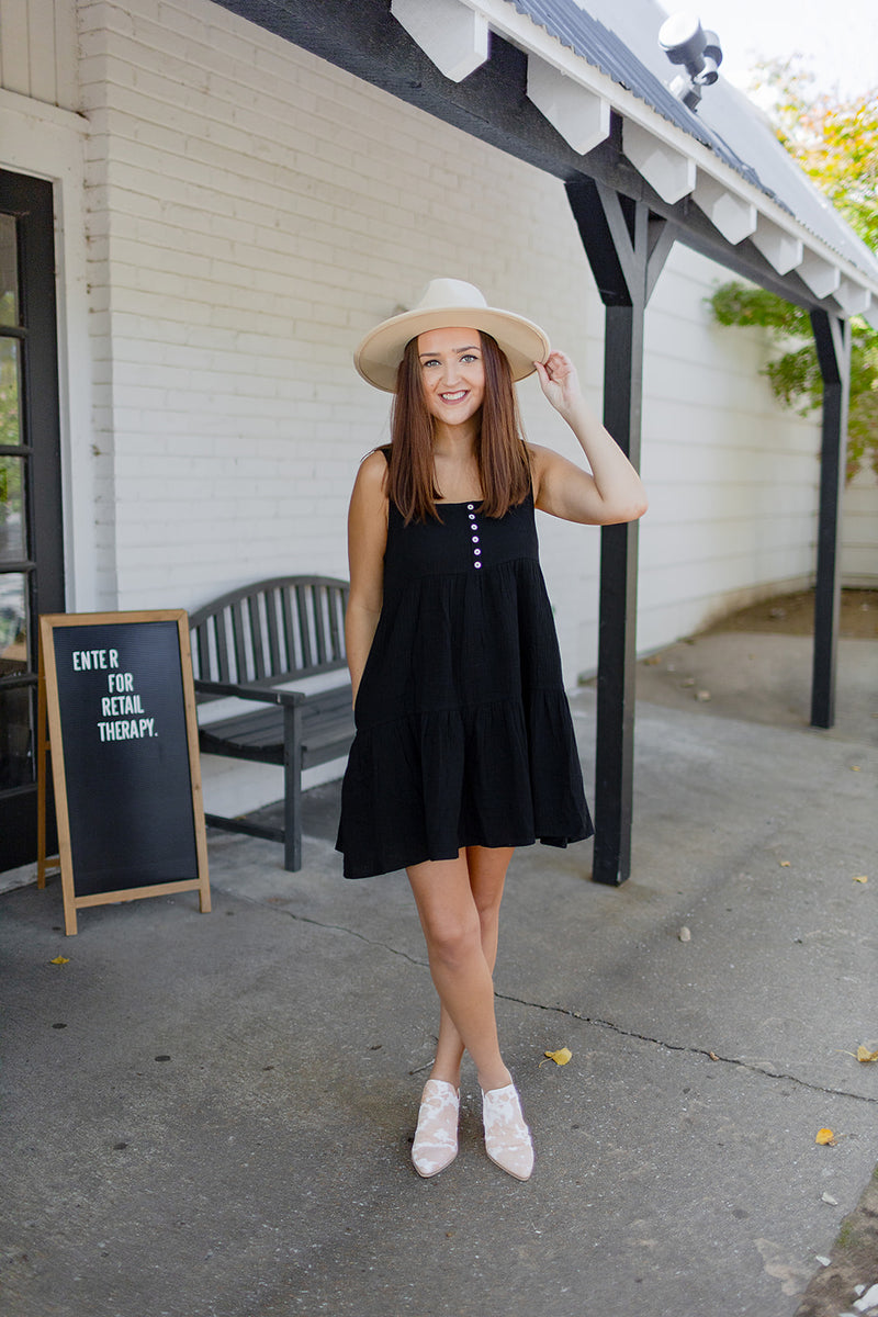 Fall Vibes Babydoll Dress - Black