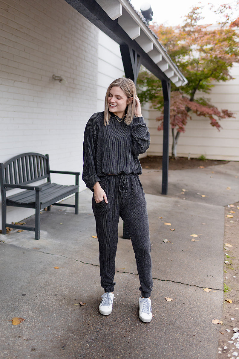 Lounge Around Ribbed Bottoms - Charcoal