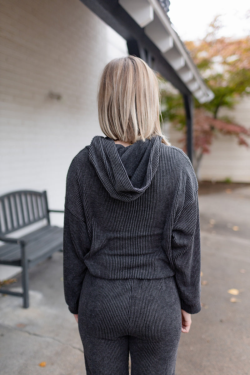 Lounge Around Ribbed Top - Charcoal