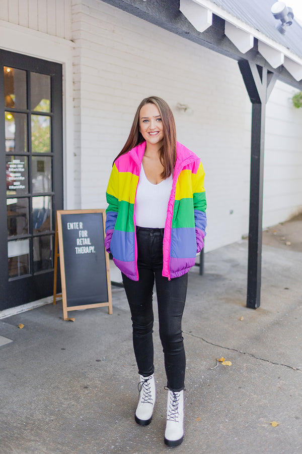 BuddyLove Lisa Puffer Coat - Rainbow