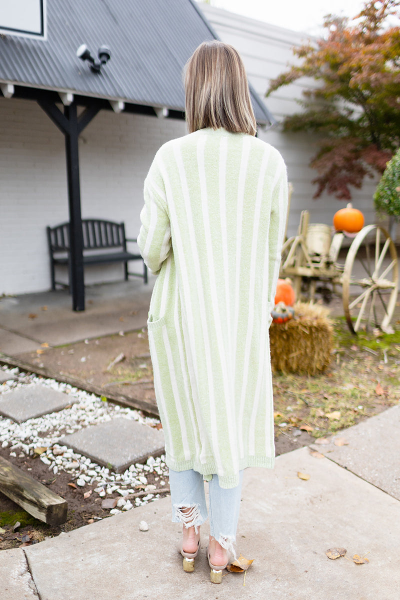 Whimsical Ways Stripe Cardigan - Apple Green