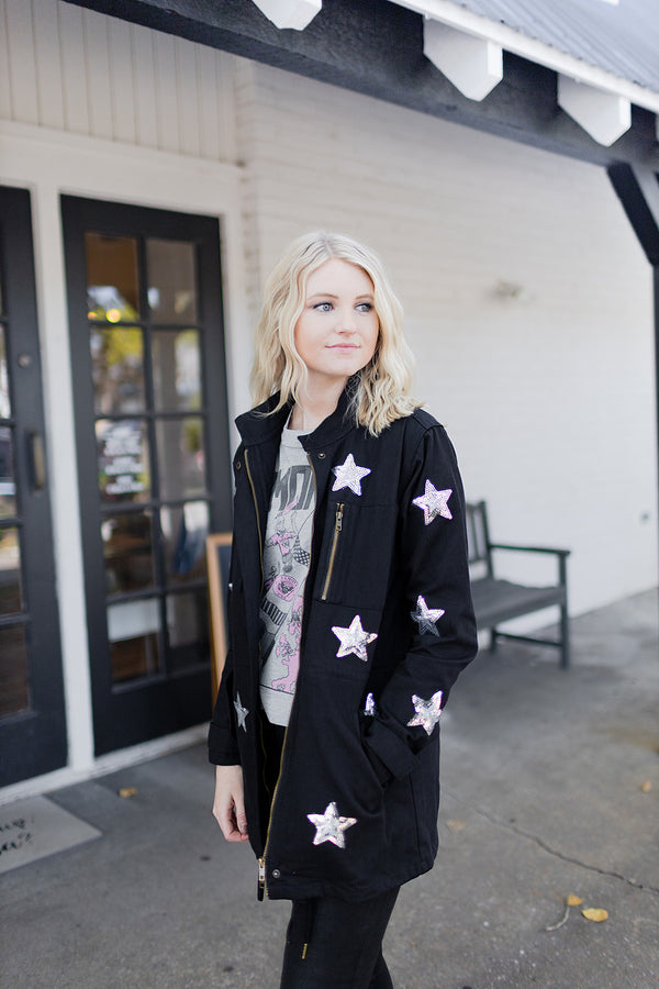 BuddyLove Alyssa Star Utility Jacket - Black