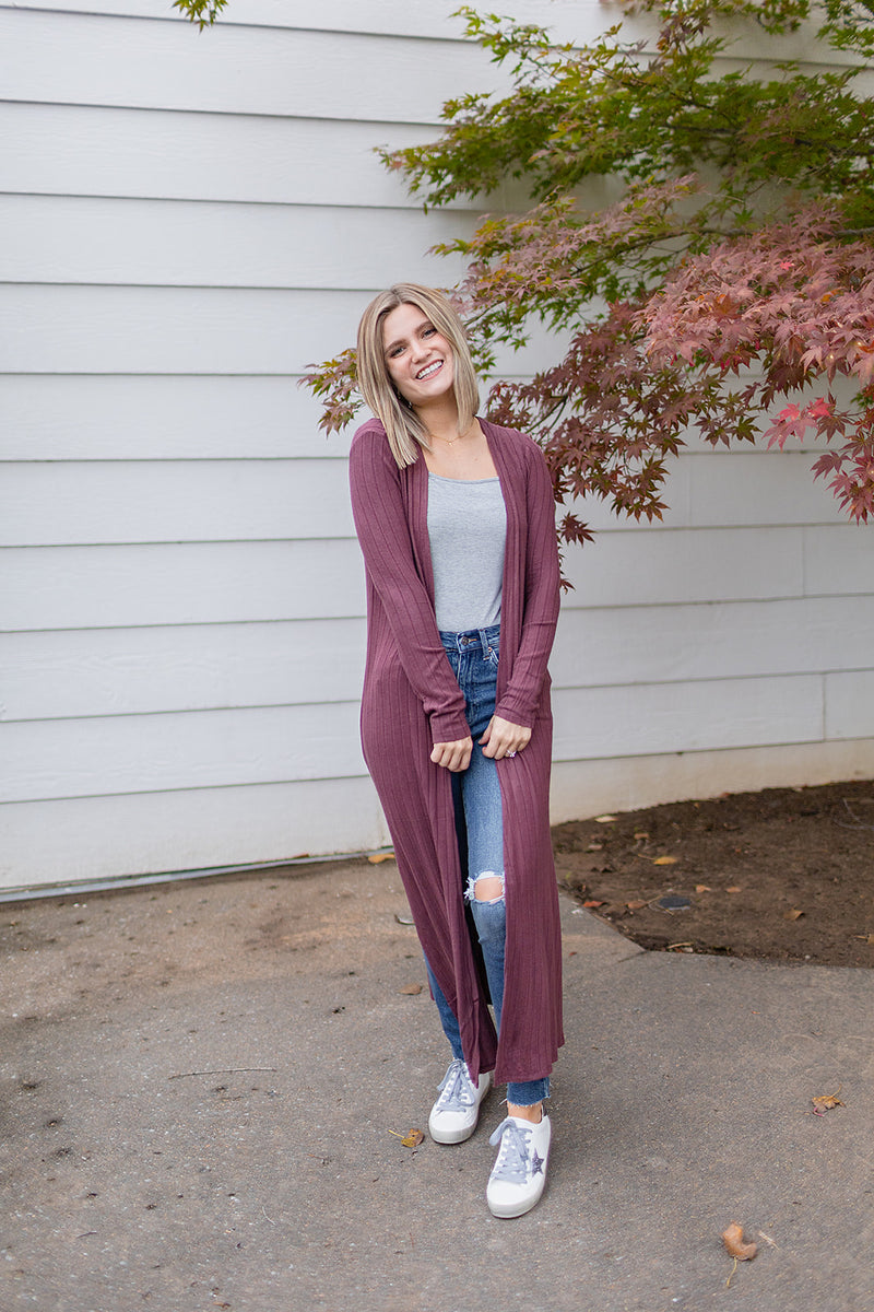 With Me Cardigan - Burgundy