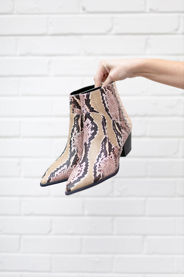 Blushing Snakeskin Moment Bootie
