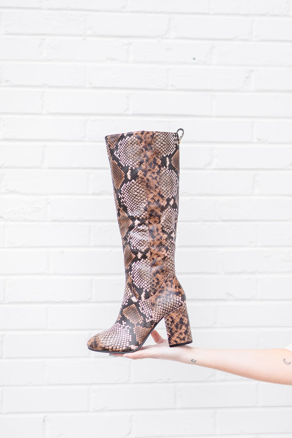 Way Up Snake Knee High Boot