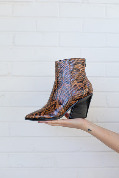 Dolce Vita Issa Booties in Caramel Snake