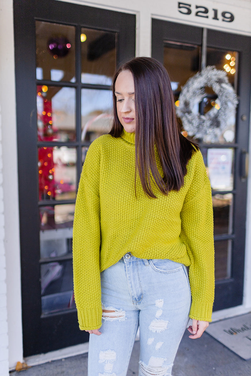Feeling Bright Mock Neck Sweater - Lime