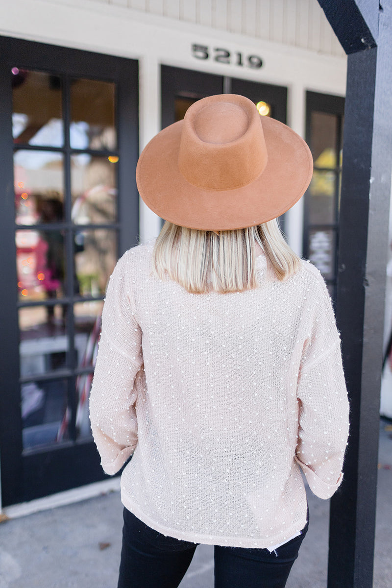 Pom Pom Knit Top - Blush