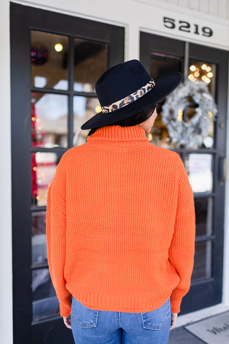 Feeling Bright Mock Neck Sweater - Orange