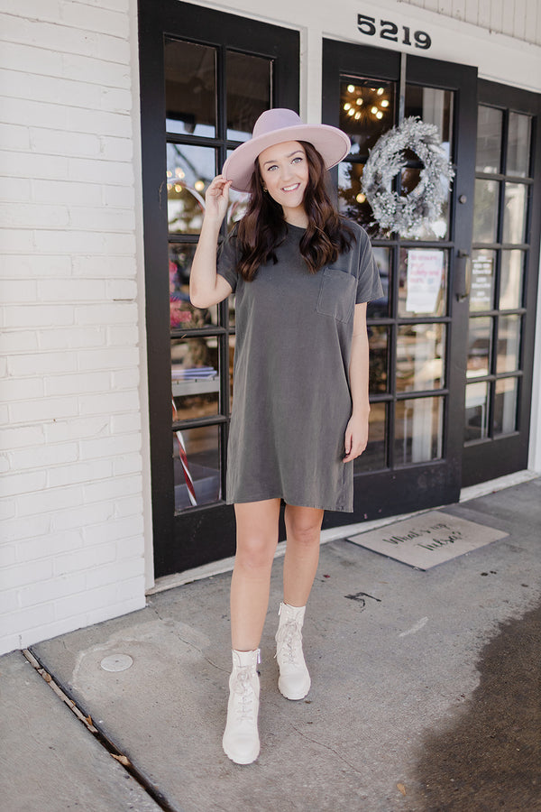 Day Date T-Shirt Dress - Charcoal