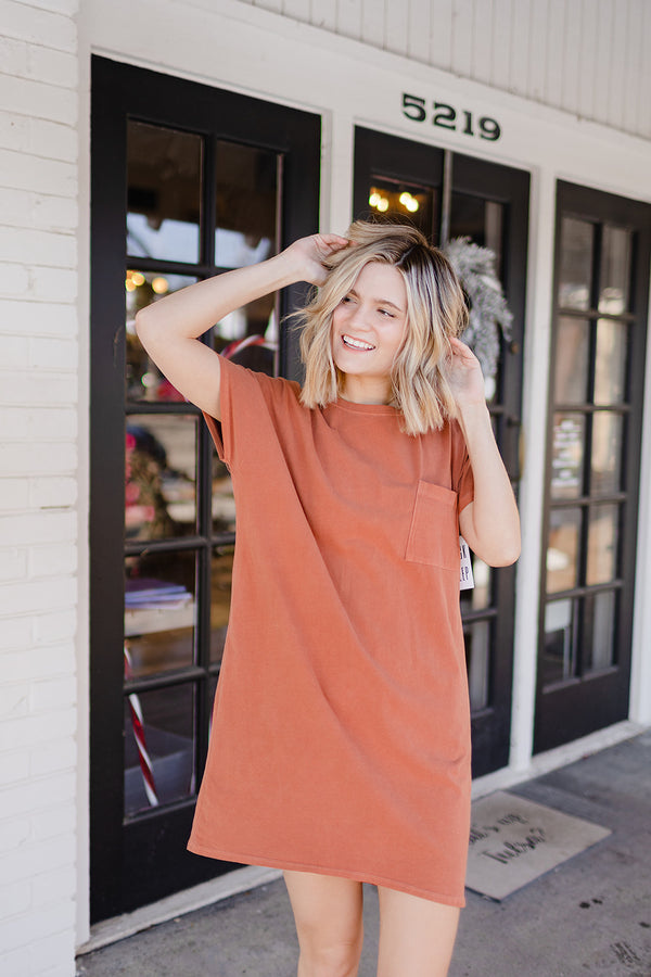 Day Date T-Shirt Dress - Marsala