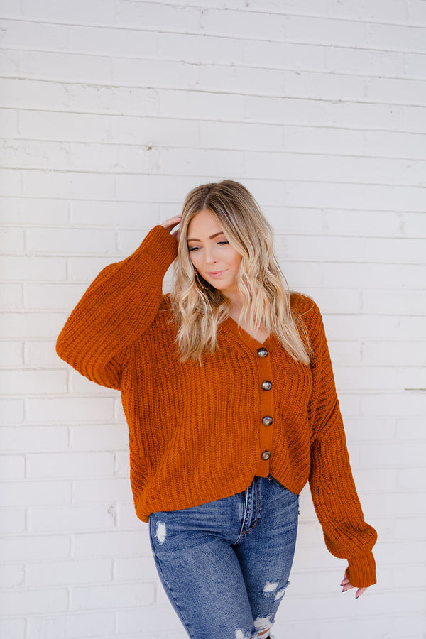 New Me Cardigan - Rust