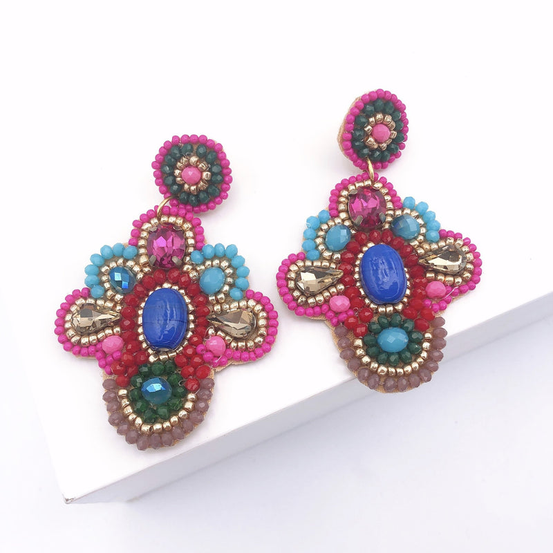 Treasure Jewels Pink and Blue Beaded Earrings