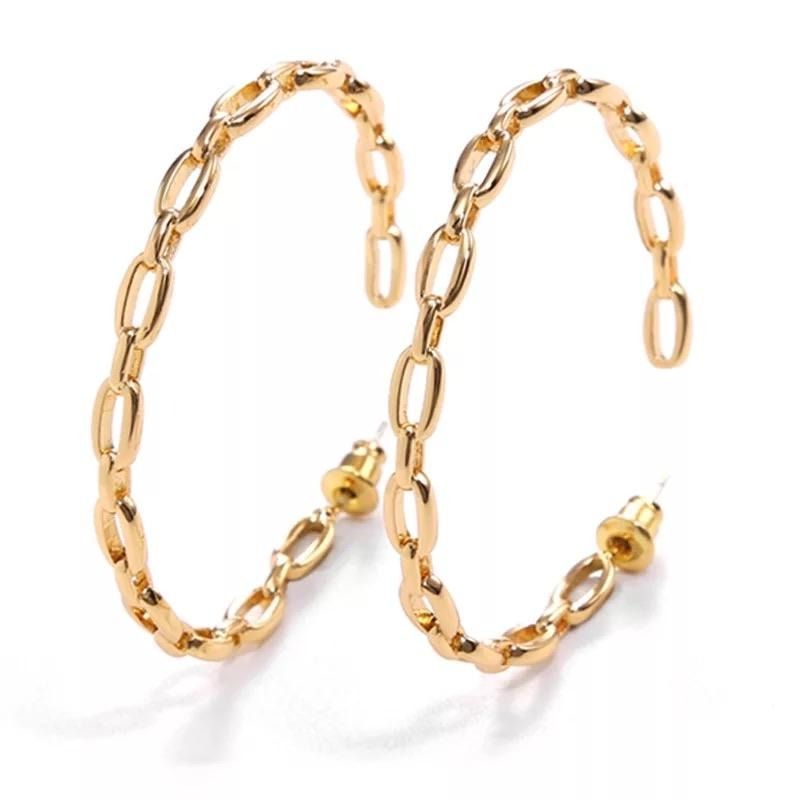 Treasure Jewels Chain Hoop Earring