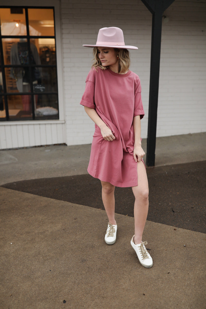 Gretta Oversized T-shirt Dress - Rose
