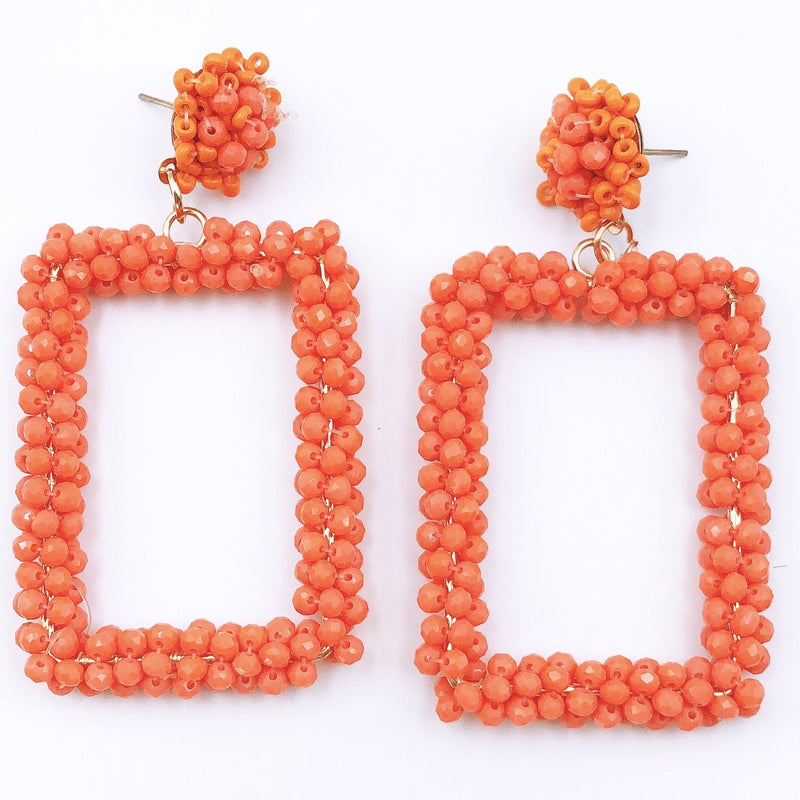 Treasure Jewels Beaded Square Earrings