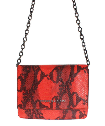 Balmain snakeskin tan red chain handbag