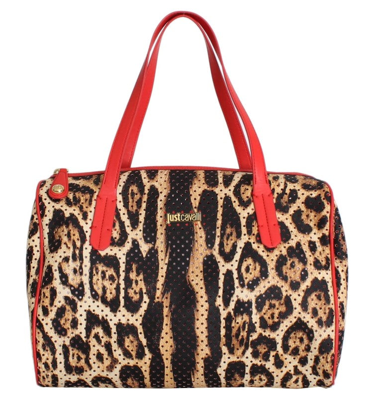 Brown Leopard Print Red Hand Satchel Bag