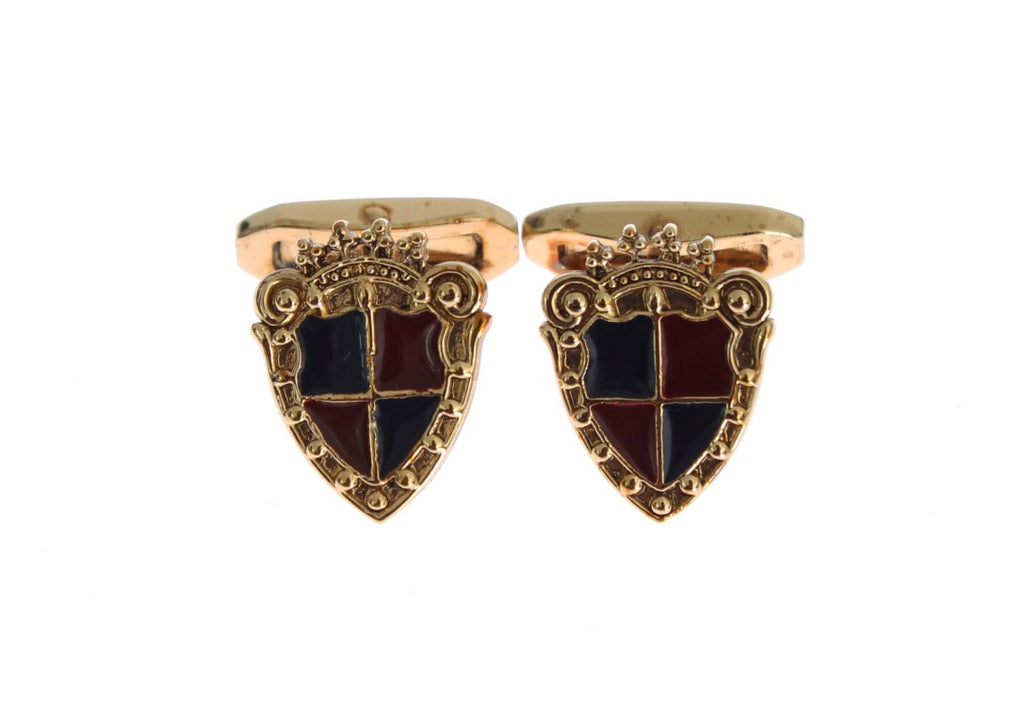 Gold Brass Royal Shield Cufflinks