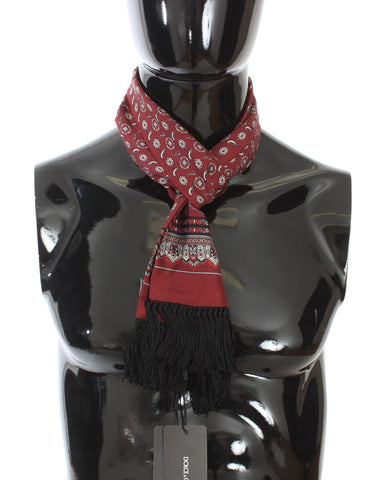 Bordeaux Silk Bird Pattern Scarf
