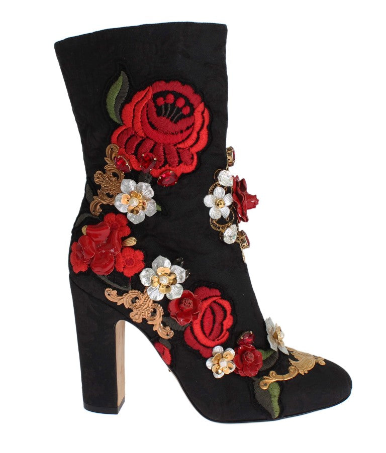 Black Leather Roses Crystal Brocade Heel Boots