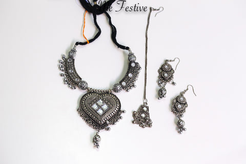 Oxidized Medium Necklace, Earrings, Mang-tika #1