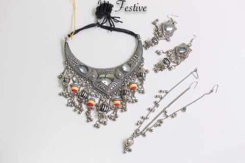 Oxidized Medium Necklace, Earrings, Mang-tika #8